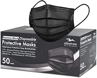 Disposable 3 ply Face Masks Pack of 50 pcs/box, Albatross Health 3ply Premium Black Procedure Earloop Face Mask, Safety Mask Filter for Protection, Mouth and Nose Cover for Adults
