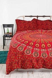 Sophia-Art Funda de edredón con diseño de mandala de pavo real indio rojo tamaño queen, colcha de algodón Doona