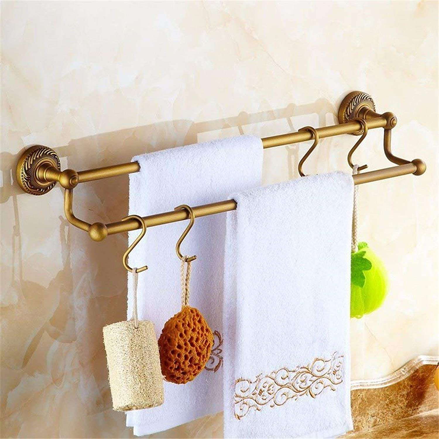 European Style of Christmas All The Copper Fittings Antique Carved Bathroom, soap Fort Dry-Towels Double-pin, 2