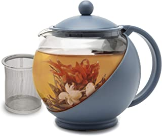 Primula Half Moon Teapot with Removable Infuser, Borosilicate Glass Tea Maker, Stainless..