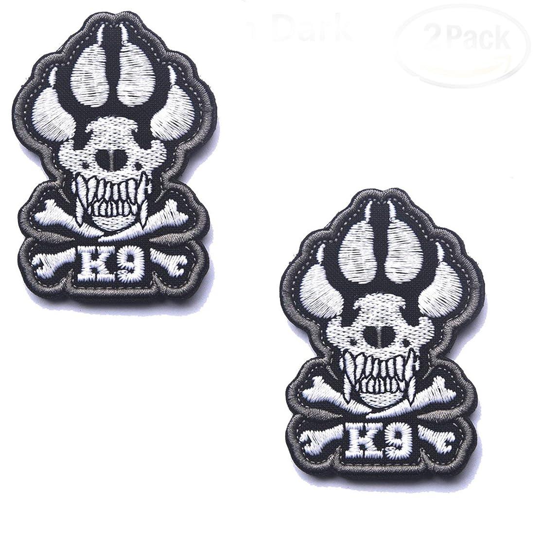 K9 Crossbones Killer Attack Police Dog Patch Embroidered Army SWAT Military Tactical Morale Badge Emblem Embroidered Fastener Hook & Loop Patch for Pet Harnesses Vest (2PCS)