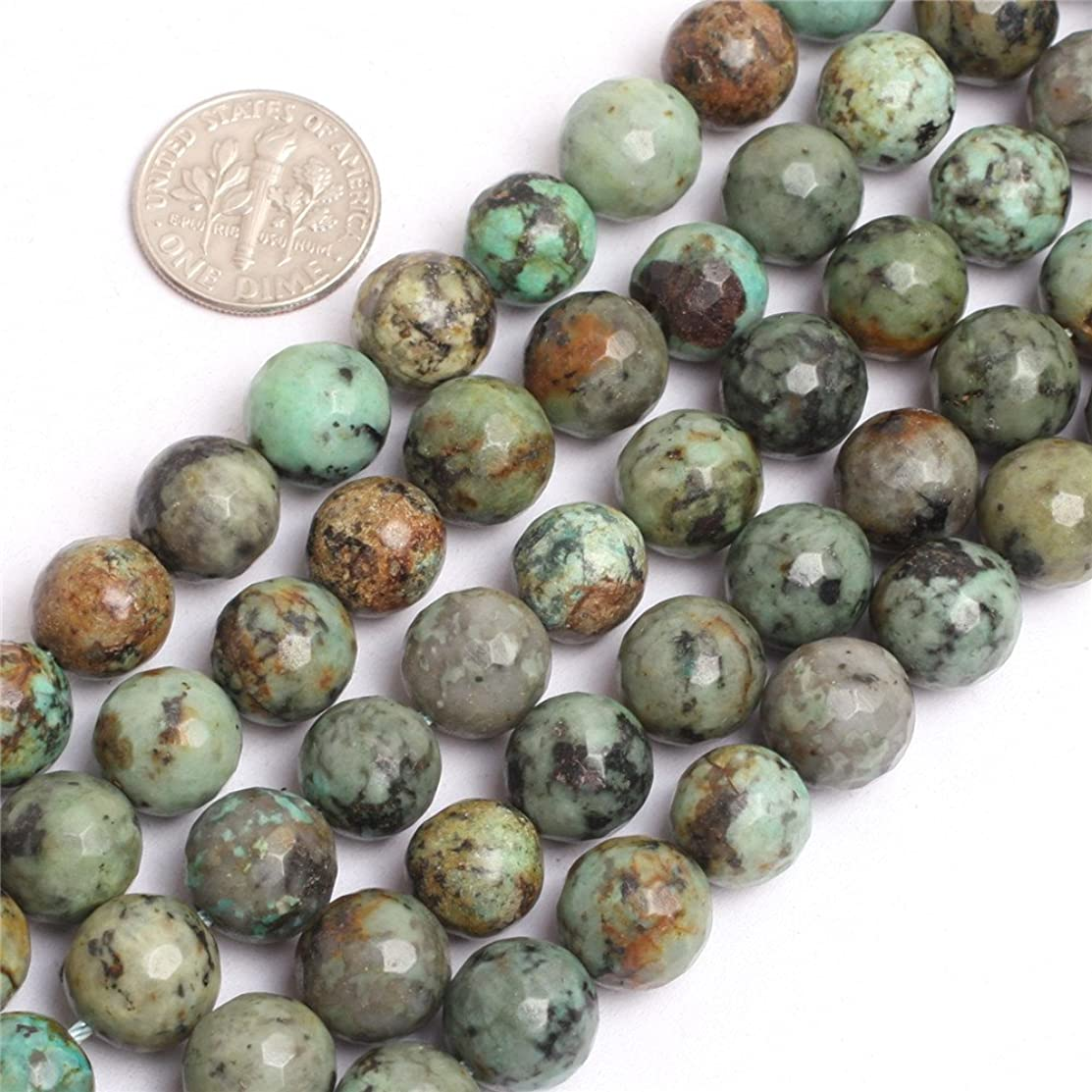 JOE FOREMAN 10mm Africa Turquoise Semi Precious Gemstone Round Faceted Blue Loose Beads for Jewelry Making DIY Handmade Craft Supplies 15
