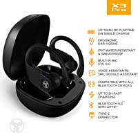 X3-Pro - Wireless Earbuds with Earhooks - 45H Playtime, aptX, IPX7 Waterproof Earphones for Running & Workout - Sport Bluetooth Headphones with Charging case - Built-in Microphone - Black
