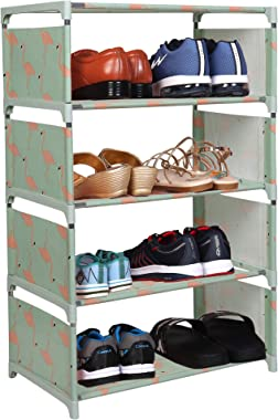 WowObjects 4 Layers Portable Multi-Purpose Foldable Storage Shoe Rack for Home (Random Design and Color)