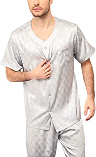 Men's Silk Pajamas Jacquard Short-Sleeved Pants 100% Mulberry Silk Home Service 2-Pc Pjs Suit,Silver,XL