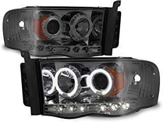 For 2002-2005 Dodge Ram 1500 | 2003-2005 Ram 2500 3500 Smoke Dual Halo Projector LED Headlights Pair Set