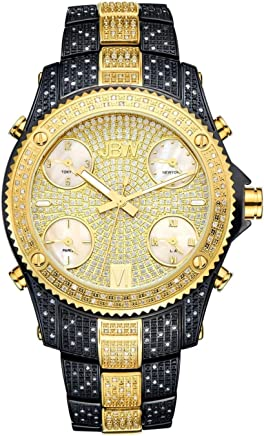 JBW Luxury Men's Jet Setter 234 Diamonds Five Time Zone Swiss Movements Watch - JB-6213-D