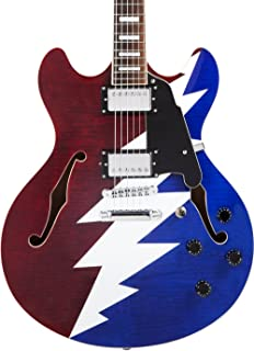 D'Angelico Premier Grateful Dead DC Semi-Hollow Electric Guitar - Red, White & Blue