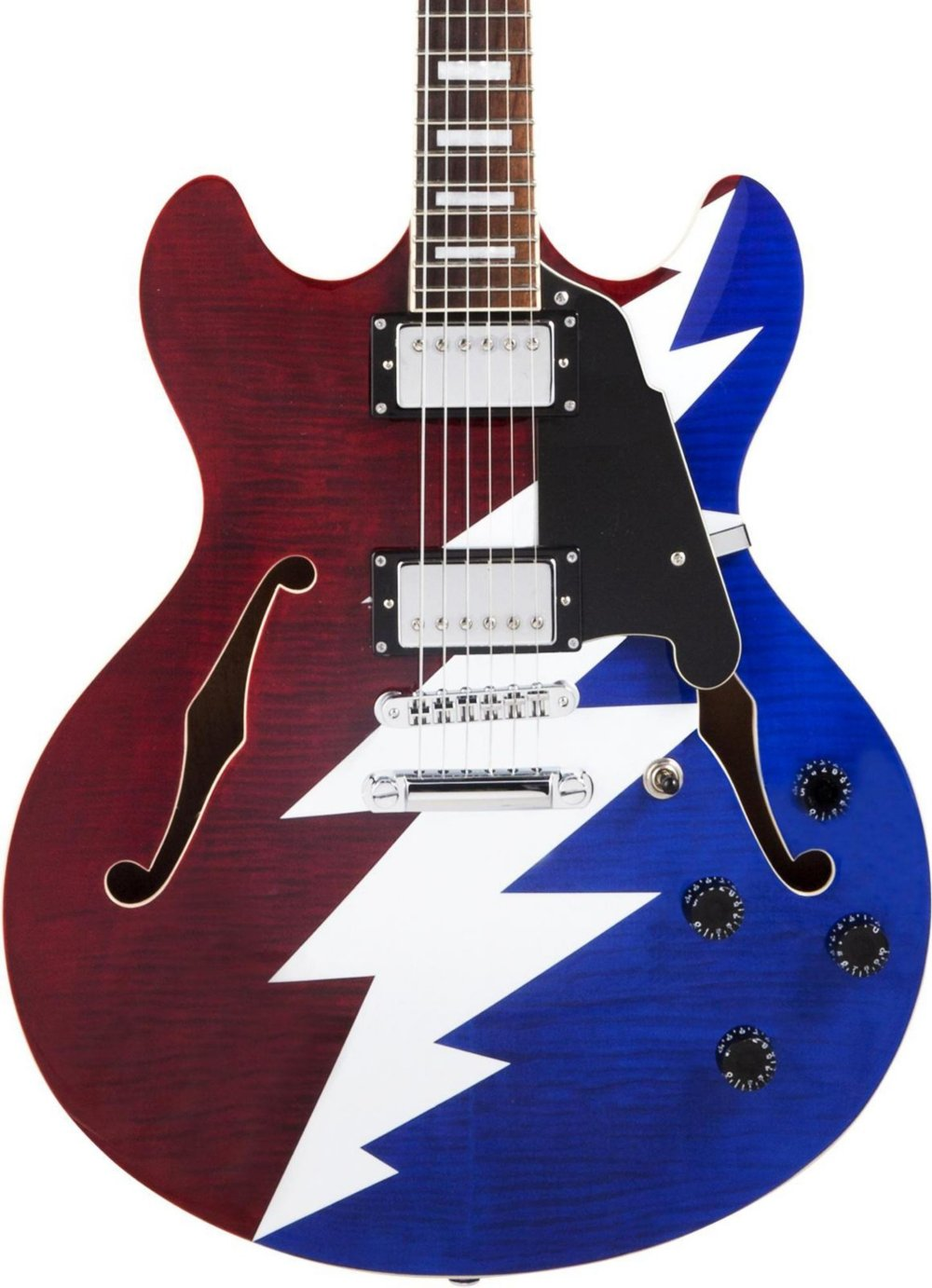 Cheap D Angelico Premier Grateful Dead DC Semi-Hollow Electric Guitar - Red White & Blue Black Friday & Cyber Monday 2019