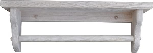 Towel Bar Shelf Amish Solid Wood Wall Mounted Custom Available Custom Available 18 Oak Wood Unfinished