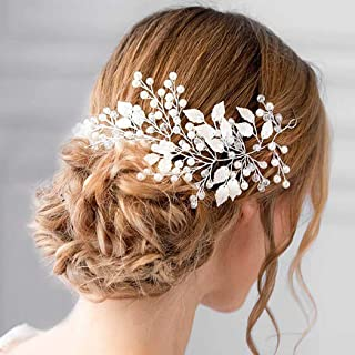 Barode Bride Wedding Hair Vine Silver Crystal Headband Pearl Leaves Hair Accessories Jewelry for Women and Girls