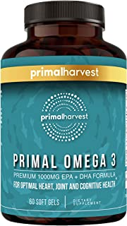 Primal Harvest: Primal Omega-3 - Premium Omega-3 Fish Oil Supplement - 60 Soft Gels - 1000 mg EPA + DHA Formula - for Optimal Heart, Cognitive, and Joint Support - Non-GMO - Allergen- and Gluten-Free