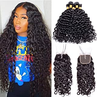 Maxine 9A Malaysian Virgin Hair Bundles with Closure Water Wave 3 Bundles With Middle Part Closure Wet And Wavy Virgin Human Hair Weave Natural Black(18 20 22with 16)