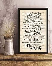 HUAAME 152 My Wish Lyrics Song Lyrics Portrait Poster Print Wall Art, Art Prints, Decor 14x11in Framed