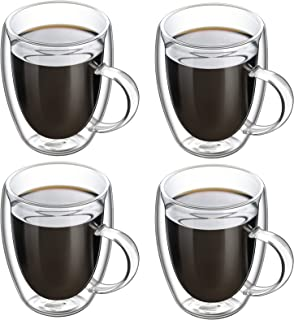 Insulated Coffee Mugs, 12 OZ, Set of 4, Double Wall Glass Coffee Cups With Handle Espresso Latte Cappuccino or Tea Cup (35...