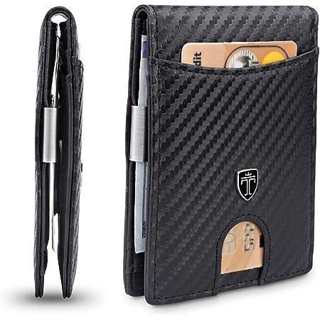 TRAVANDO Slim Wallet with Money Clip Seattle RFID Blocking Wallet - Credit Card Holder - Travel Wallet - Minimalist Mini Wallet Bifold for Men with Gift Box (Carbon)