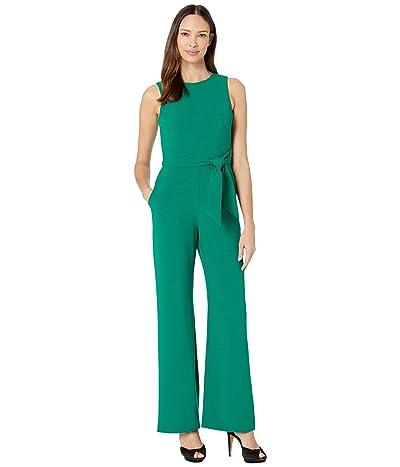 Vince Camuto Kors Crepe Tie Waist Jumpsuit (Dark Green) Women
