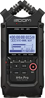 """Zoom H4n Pro All Black 4-Track Portable Recorder (2020 Model), Stereo Microphones, 2 XLR/ ¼"""" Combo Inputs, Guitar Inputs, Battery Powered, Multitrack Recorder for Music, Audio for Video, Podcasting"""