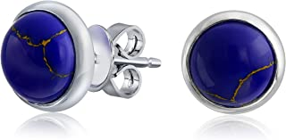 Simple Gemstone Bezel Set Round Dome Button Stud Earrings For Women 14K Gold Plated 925 Sterling Silver More Colors