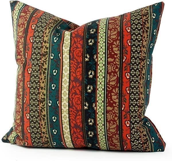 Lavievert 民族条纹帆布广场扔枕头套靠垫手工制作抱枕情况采用隐藏式拉链月个月英寸