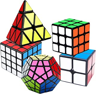 Coolzon Speed Cube Set, Rubix Cube Set, Magic Cube 2x2 3x3 4x4 Pyraminx Pyramid Megaminx Puzzle Cube Toy Gift for Children Adults, Pack of 5