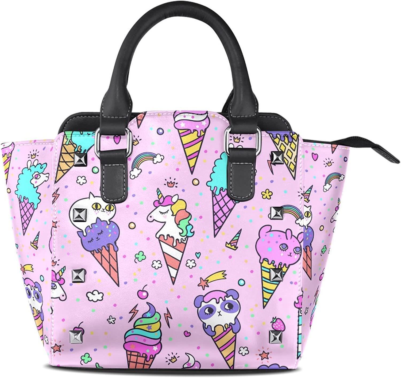 My Little Nest Women's Top Handle Satchel Handbag Cute Ice Cream Animals Ladies PU Leather Shoulder Bag Crossbody Bag