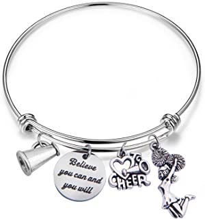 Gzrlyf Cheer Charm Bracelet Cheerleader Bracelet Cheerleading Jewelry Cheer Team Gift Cheer Coach Gift Girls Gift