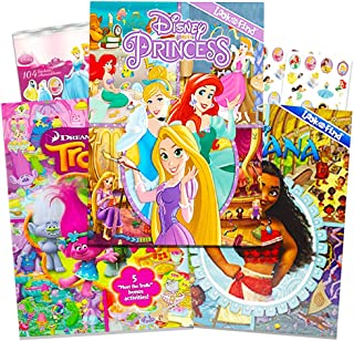 Disney Look and Find Books Set Kids Toddlers -- 3 Books with Bonus Stickers (Disney Moana, Trolls and Disney Princess)