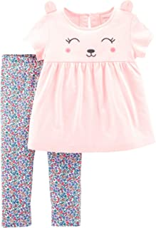 Carter's Baby Girls' 2-Piece Top and Legging Set (Pink Bear/Floral, 9 Months)