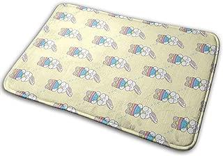 Bath Mat Non Slip Absorbent Super Cozy Sleeping Easter Bunny Yellow Bathroom Rug Carpet (15.7