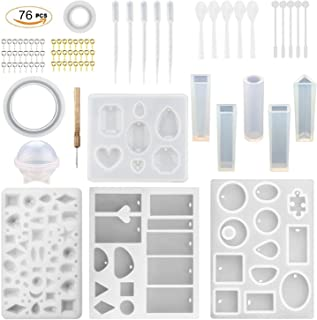 76PCS DIY Jewelry Casting Molds Tools Set Contains 12 Jewelry Mold (assorted Styles) 24 Screw Golden Eye Pins 24 Screw Sil...