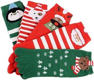 YIGIAO, Stillshine Cinco Dedos Calcetines de Navidad, Childrens Baby Boy o niña y Adultos Cosy Cotton Socks Value Pack para niño pequeño (Niños (7-12 años))
