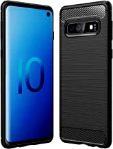 Dashmesh Shopping™ Rugged Armour Shock Proof Brushed Carbon Fibre Texture Slim Profile TPU Phone Back Case Cover for Samsung Galaxy S10 - Carbon Metallic Black