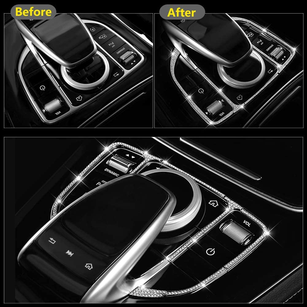 Clock Thor-Ind Car Central Console Clock Diamond Decoration Ring Cover for Mercedes-Benz /C E S Class W213 E200 E300/C180 C200 C260 C300