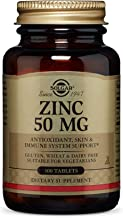Solgar Zinc 50 mg, 100 Tablets - Zinc for Healthy Skin, Taste & Vision - Immune System & Antioxidant Support - Supports Cell Growth & DNA Formation - Non GMO, Vegan, Gluten Free - 100 Servings