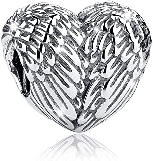 925 Sterling Silver Charms Feathers Angel Wing Heart Shape Lucky Charms for Pandora Bracelet Charms &Gift
