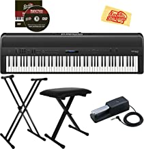 Roland FP-90-BK SuperNATURAL Modeling Digital Portable Piano - Black Bundle with Adjustable Stand, Bench, Sustain Pedal, Instructional DVD, and Austin Bazaar Polishing Cloth