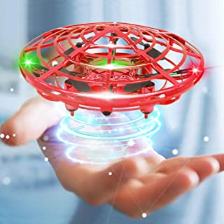 Mini Drone Flying Toy Hand Operated Drones for Kids or Adults - Hands Free UFO Helicopter, Easy Indoor Outdoor Flying Ball Drone Toys for Boys Girls (Red)
