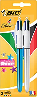 BIC 9543311 4 Colours Shine Retractable Ball Pen Medium Point (1.0 mm) - Blue and Silver Bodies, Pack of 2 Pens, Assorted