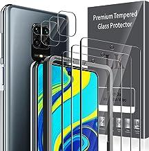 LK 6 Pièces Verre Trempé Compatible avec Xiaomi Redmi Note 9s / Redmi Note 9 Pro,Contenir 3 Pièces Protection écran et 3 Pièces Caméra Arrière Protecteur,Double Protection