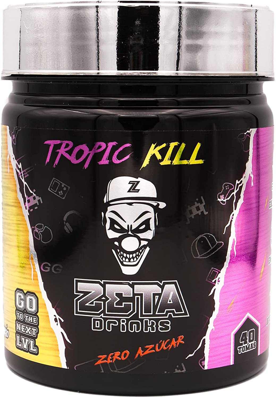 ZETA DRINKS Bebida Energética para gamers en polvo | TUBO TROPIC KILL | Energía para Esports Y Creadores 400g | 40 Raciones