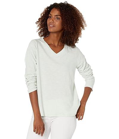 Eileen Fisher V-Neck Long Sleeve Tee in Slubby Organic Cotton Jersey