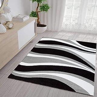 7b44a042 Vimoda Alfombra Moderna diseño de Ondas, Pelo Corto, Gris, Negra y Blanca -