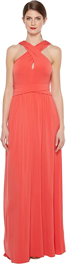 Sleeveless Cross Neck Jersey Gown w/ Back Knot Detail