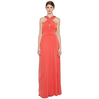 Halston Heritage Sleeveless Cross Neck Jersey Gown w/ Back Knot Detail (Poppy) Women