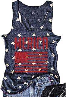 FAYALEQ Women Tank Tops American Flag Print Sleeveless T-Shirts Tees Casual Vest Blouse