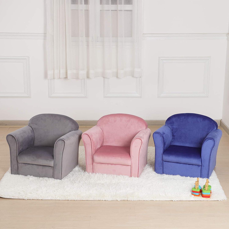 Single Velvet Kids Sofa Chair Bbay Furniture Gift for Boys /& Girls Upholstered Toddler Mini Armrest Chair Blue