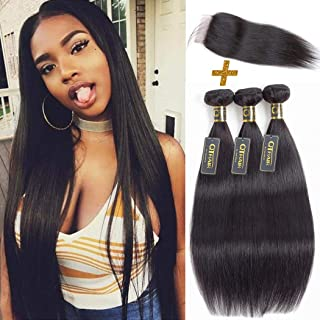 QTHAIR 12A Straight Human Hair Bundles with Closure(18 20 22+16,Free Part,Natural Black) Indian Straight Virgin Hair with 4x4 Lace Closure Frontal 100% Unprocessed Human Hair Weave with Closure