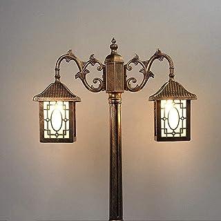 Outdoor 2-Lights Road Lamp High Pole 2.2M European Patio Landscape Street Light Waterproof Glass Lantern Post Lamp Victori...