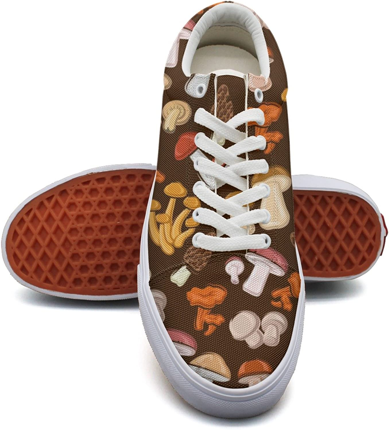 Vintage Mushroom Fashion Canvas Sneakers shoes For Womns 3D Printed Low Top Walking shoes